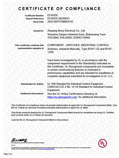 UL certificates