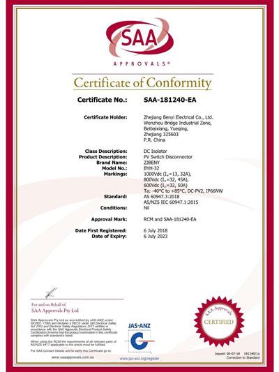 SAA Certificate of Conformity